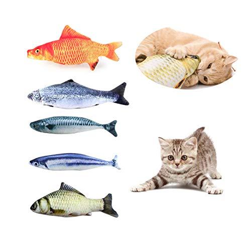 Heatigo Spielzeug mit Katzenminze 5 Stück katzenspielzeug Fisch Katze Interaktive Spielzeug 20CM Simulation Fisch Kissen Kauen Spielzeug Set für Katze/Kitty/Kätzchen
