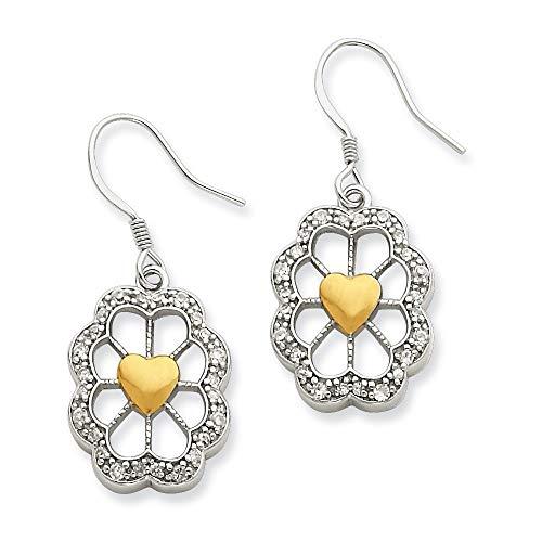 Pendientes de plata de ley 925 pulidos con parte trasera abierta y chapado en oro de 14 quilates, ovalados, con forma de corazón, circonita cúbica, diamantes de imitación, regalo para mujeres