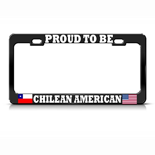 Marco de matrícula de Metal Negro Americano de Chile, Ideal para Hombres y Mujeres, decoración de garadjas de Coche