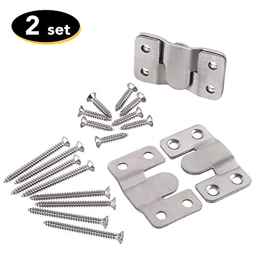 Furniture Extra-Thin Flush Mount Bracket- Large Picture Hangers- Heavy Duty Photo Frame Hook- Headboard Wall Mount Hardware- Stainless Steel Interlocking Z Clips (Large Size, 2 Sets with Screws)