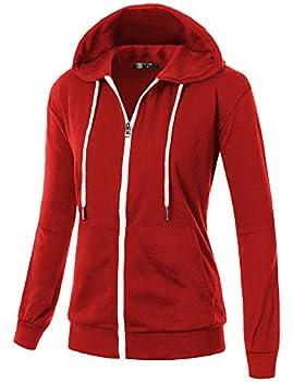 GIVON Womens Comfortable Long Sleeve Lightweight Zip-up Hoodie with Kanga Pocket/DCF200-RED-M