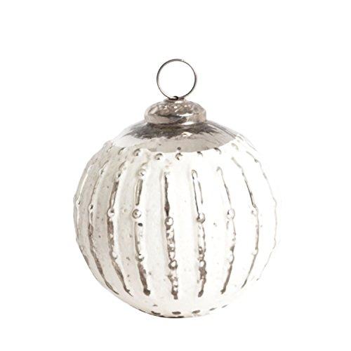 SARO LIFESTYLE XM709.S Glass Ball Ornament Set, 4-Inch, Silver, Round (Set of 2 pcs)