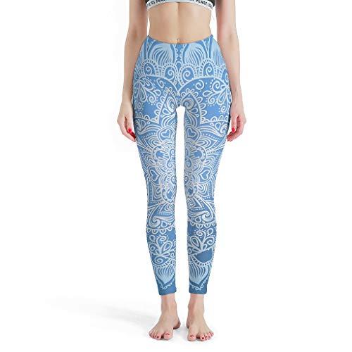 YxueSond Vrouwen 4 Way Stretch Yoga Legging Gradient Blauw Mandela Fitness Hardlopen Leggings Panty voor Meisjes