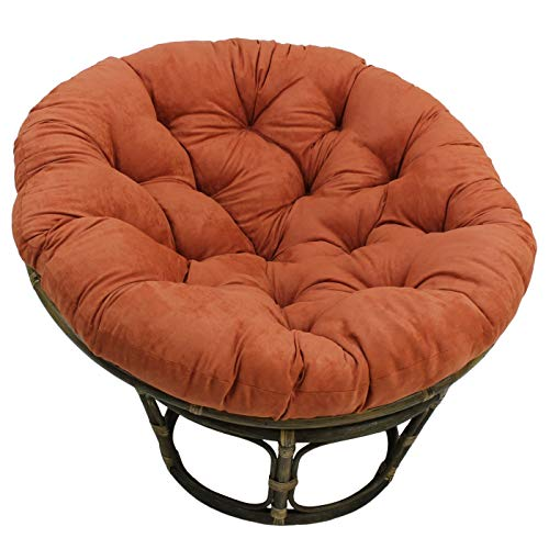 MISC 52 Inch Spice Orange Papasan Cushion Only Rounded Tufted Oversized Chair Pad Floor Pillow Use Plush Indoor Thick Comfy Solid Color, Microsuede Polyester