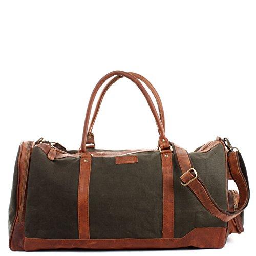 LECONI XL Reisetasche Sporttasche Canvas für Damen & Herren Canvas + Leder Weekender Unisex Handgepäck für die Reise 55x30x27cm grün LE2017-C