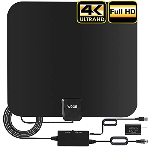 TV Antenna, The Newest Upgraded Amplified HD Digital TV Antenna Long up to 180miles Range – Support 4K 1080p and Older TV's Indoor Powerful HDTV Amplifier Signal Booster – 17ft Coax Cable/AC Adapter