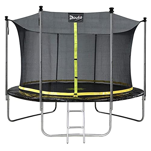 10FT Trampoline with Enclosure Net and Ladder, Doufit TR-06 Outdoor Large Recreational Trampoline for Kids and Adults, ASTM Approved Family Jumping Exercise Fitness Heavy Duty Rebounder