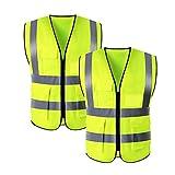 Chaleco de seguridad con 4 bolsillos reflectantes de alta visibilidad, chaleco de seguridad para el coche, chaqueta de seguridad para trabajo en carretera, con 4 bolsillos