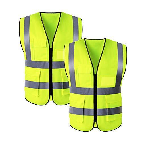 ExeQianming Sicherheitsweste, 4 gut sichtbare reflektierende Streifen Auto Breakdown-Sicherheitsweste, Sicherheitsjacke für Straßenarbeiten mit 4 Taschen, 2er-Pack