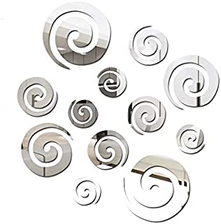 CZZ 3D Brick Wallpaper Wall Sticker Home Wall Stickers Acrylic Mirror Post Vortex Decorative Wall Stickers Removable Self-Adhesive DIY Background Stickers (Color : Silver)