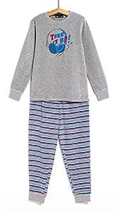 TEX - Pijama Largo para Niño, 2 Piezas, Estampado, Gris Oscuro, 11 a 12 años
