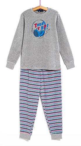 TEX - Pijama Largo para Niño, 2 Piezas, Estampado, Gris Oscuro, 9 a 10 años