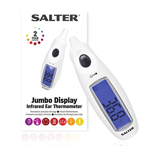 SALTER Digitales Medizinisches Ohrthermometer mit Jumbo-Display, Hochpräzise Messwerte für Erwachsene und Babys, Sofortige Messung, wasserdichte Sonde, Fieberalarm, 10 Speicher, einfache Bedienung