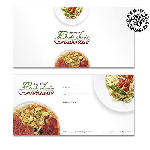 50 hochwertige Gutscheinkarten Geschenkgutscheine DIN-lang. Gutscheine für Italienische Restaurants Pizzeria Pizza. Vorderseite hochglänzend. G9204