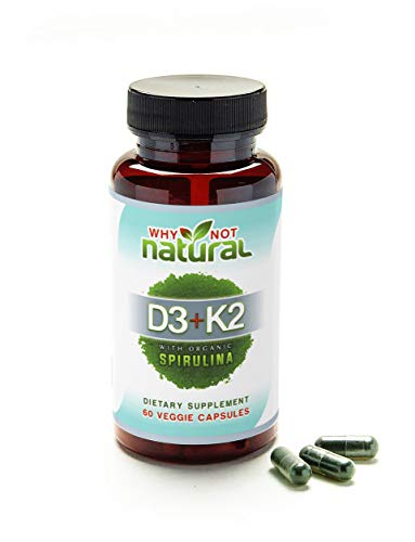 Green Vitamin K2 (MK7) & D3 10,000 IU Supplement w/ USDA Organic Spirulina, 60 Capsules for Bone Health, Anti Aging and Immune Support :: Non GMO, Vegetarian for Men & Women by Why Not Natural