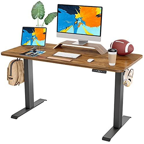 FAMISKY Standing Desk Dual Motors, Adjustable Height Electric Stand up Desk, 48 x 24 Inches Sit Stand Home Office Desk, Ergonomic Workstation Black Steel Frame/Rustic Brown Wood Tabletop