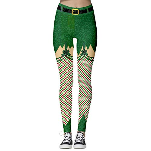 Hhckhxww Yoga Pants Tight-Fitting Seamless High-Waist Hip-Lifting 3D Christmas Digital Printing Sports Running Casual Nine-Point Pants