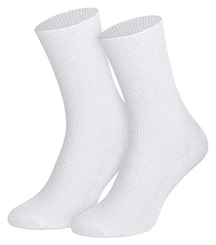 5, 10 oder 20 Paar Herren Damen Socken- 100% BAUMWOLLE Gesundheitssocken Komfortbündchen, ohne Gummi 35-38, 39-42, 43-46, weiß kochfest, Weiß, 39-42 / 5 Paar