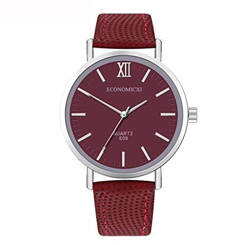 Neuer Trend Damen Armbanduhr Uhr, Frauen Klassisch Römisch Minimalistisch Analog Quarz Uhren Ultradünn Damenuhr Lederarmband Damenarmbanduhr Geschenk LEEDY