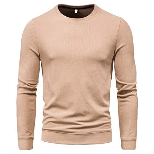 Hemd Herren Basic Slim Fit Langarm Rundhals T-Shirt Sweatshirt Einfarbig Leicht Breathable Einfachheit Tops Herbst Winter Neu All-Match Jogging Sport Shirts XL