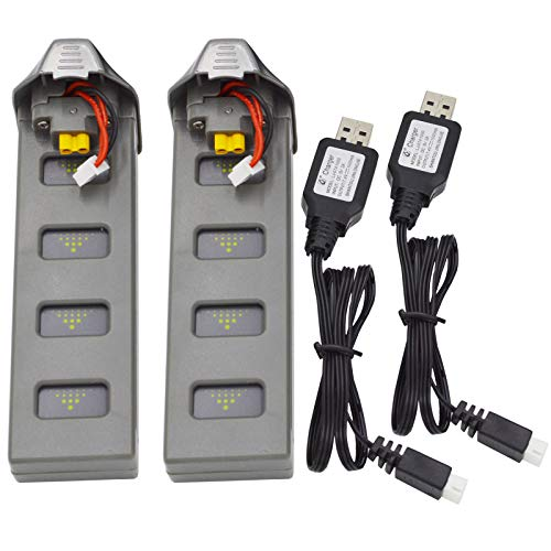Blomiky 2 Pack 7.4V 1800mAH 25C Li-Poly Rechargeable Battery for SP700 D80 F200SE MJX B2SE GPS RC Quadcopter Drone Grey B2SE Battery 2