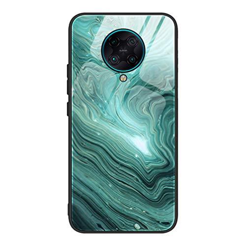 HAOYE Hülle für Xiaomi Pocophone F2 Pro Hülle, Marmor Textur-Glas Back Cover Handyhülle, Ultra Thin Tasche Cover TPU Silikon Grenze Shock Absorption Stoßfest Hülle Schutzhülle(2)