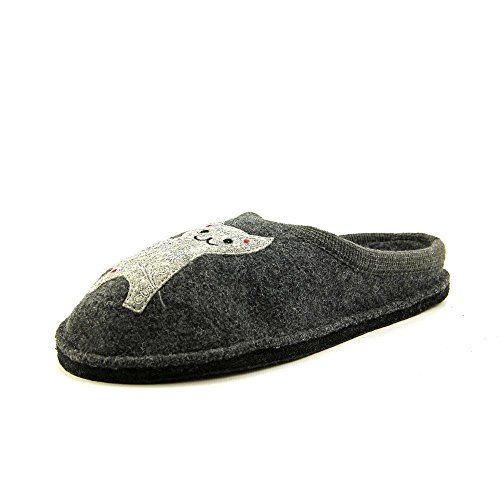 HAFLINGER Women's Lizzy Grey Wool Slippers, 38 EU (7 US)