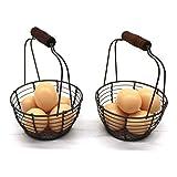 CVHOMEDECO. Minicestas de Alambre de Metal para Huevos cestas Mango de Madera, Estilo Vintage Juego de 2