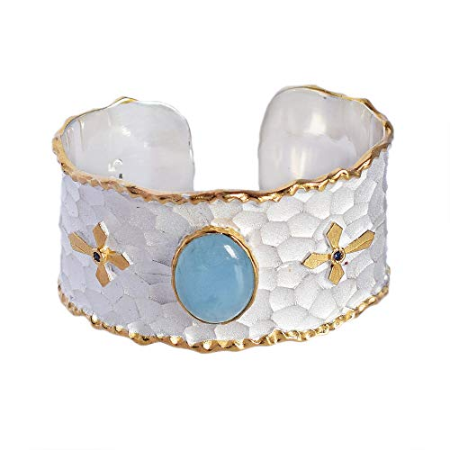 Hippie Jewelry Armreif vergoldet Aquamarin Blau Boho Silber Geschenk für Frau Schmuck zum Jahrestag FSJ-4574