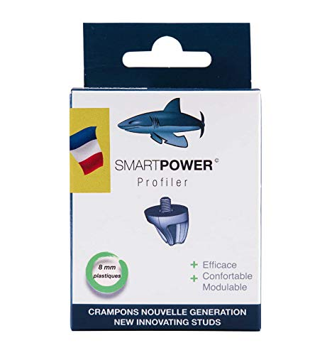 SMART POWER Perfiler 12 Tacos de fútbol y Rugby de plástico de 8 mm para Zapatos atornillados Excepto Predator Malice Ace Nemeziz Kakari Light (Pack sin Llave), Unisex, Azul, Blanco y Rojo