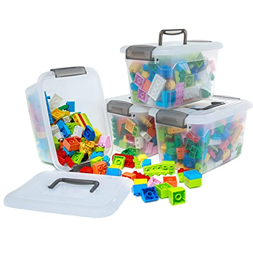 Citylife 4 Packs 5.3 QT Storage Bins with Lids Clear Plastic Bins with Grey Handle Stackable Storage Containers for Organizing