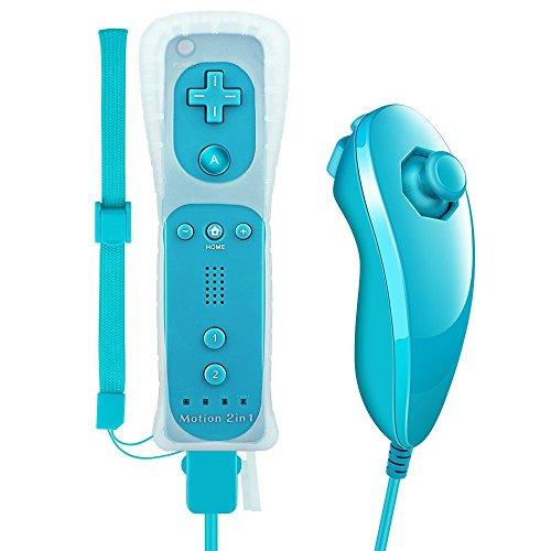 Tanouve Controller Wii Motion Plus, 2 In 1 Nunchuck Costruito Motion Plus Telecomando Remote Set Per Nintendo Wii e La Console Wii u Con Custodia In Silicone + Custodia - blu