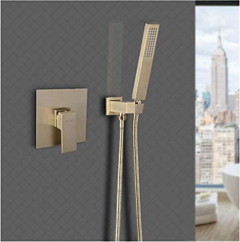 Grifo de ducha de baño montado en la pared de latón cabezal de ducha + grifo mezclador cepillo de ducha de mano negro oro blanco grifo de baño,H9PDS0ZQ83PQF