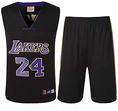 xzl Ropa de Baloncesto de la NBA para niños, niños, los Lakers Kobe Bryant 24 Bordado Jersey Baloncesto Trajes de Baloncesto Summer Jersey Set Sports Traje, Black - L