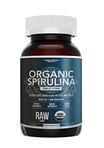Organic Spirulina Tablets - Made with Parry® Spirulina, The Best Spirulina in The World, Highest Nutrient Density - Non-Irradiated, 4 Organic Certifications (120 Tablets)