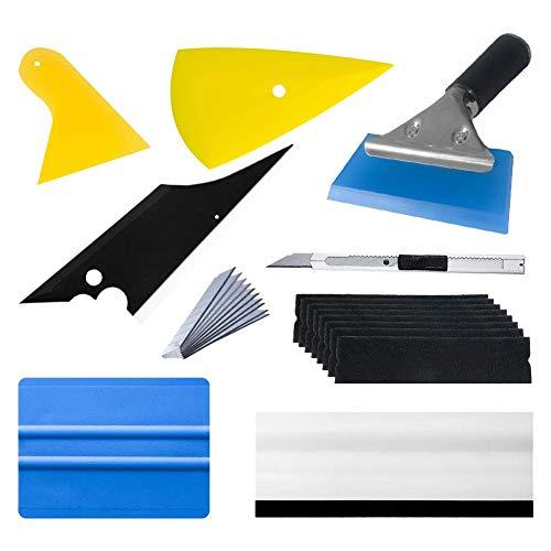 sinceY Autofolie, kleurfolie, lakbeschermingsfolie, vinyl wrapping, gereedschapsset, folierakel kunststofschraper, watertrekker, raamtrekker met rubberen lip, 9-delige set