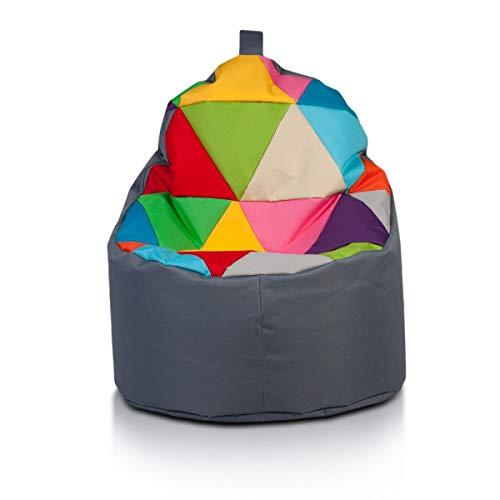 Ecopuf Yoko Pouf Patchwork Design Pieno - Poltrona Sacco con Cover in Poliestere da Esterno, 70x75cm