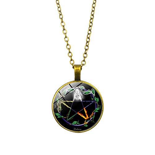 GuDeKe Die Göttin der Weissagung Zeit Edelstein Halskette Pentagramm Anhänger (Gold)
