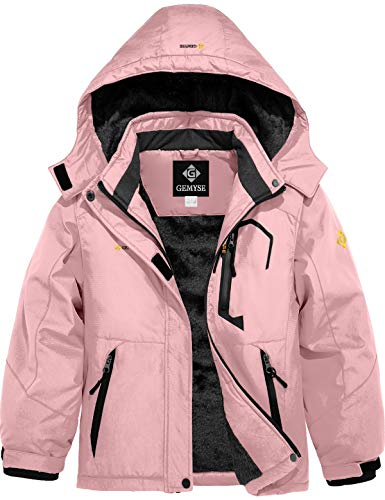GEMYSE Girl's Waterproof Ski Snow Jacket Fleece Windproof Winter Jacket with Hood (Coral Pink,8)