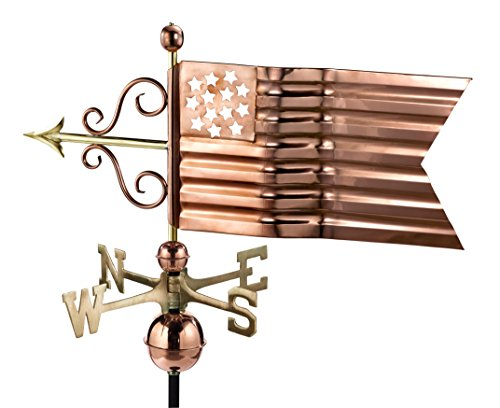 Good Directions American Flag Weathervane, Pure Copper