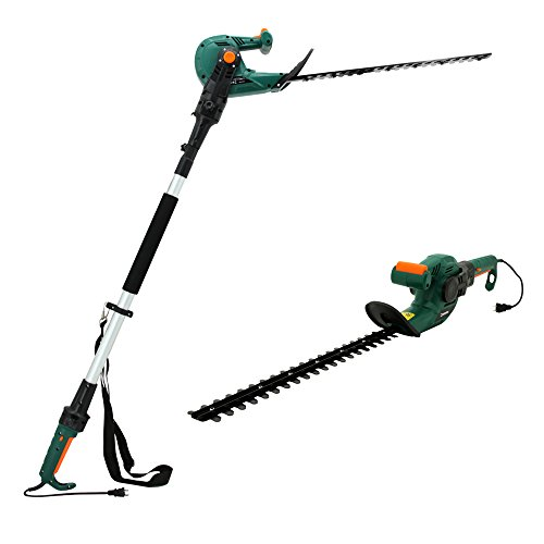 DOEWORKS Corded 5 AMP Multi-Angle Cutting 3 in 1 Long Reach Electric Hedge Trimmer on Pole with Rotating Handle, 20' Dual Steel Blades