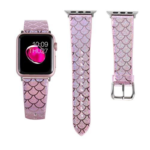 Cuero brillante para Apple Watch 38 mm 40 mm 42 mm 44 mm BandasPatrón de escala de pescado para Apple iWatch series 5 4 3 2 1 Banda para mujer