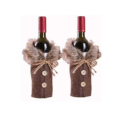 KUNORTH 2-Piece Set of Christmas Wine Bottle Cover with Neckline and Button Jacket Design Wine Bottle Cover for Christmas Party Gift Party Party Decoration (Linen)
