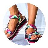 Sandalias Plataforma para Mujer, Zapatillas Informales con Punta Abierta Al Aire Libre, Sandalias Verano, Playa, Zapatillas Tacón con Pendiente Gladiador,Color-38