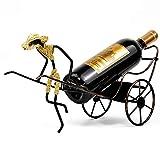 NTBST Hierro Estante del Vino de La DecoracióN, Libre de Pie Soporte para Botella Botelleros de Vino Originales,Bronze_15x5.3x8inch