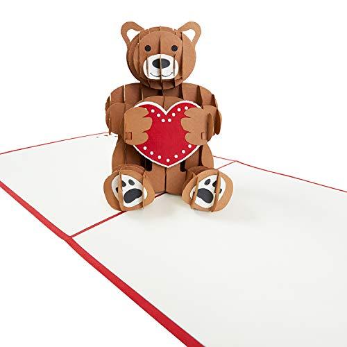 """PaperCrush® Pop-Up Karte Liebe """"Teddy mit Herz"""" - 3D Geburtstagskarte für Sie (Frau oder Freundin), Süße Liebeskarte mit Teddybär für Geburtstag, Hochzeitstag oder Jahrestag"""