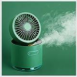 Mini Ventilador USB Desktop Fan Ventilador Agua Nebulizador 3 Velocidades Potente Pinza Ventiladores Pequeño de Mesa con Recargable Batería y Cable USB Green