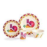 Dylan Kendall Home Kinder-Teller-Set aus Bambus, Design Affe, 4-teilig Kaninchen mehrfarbig