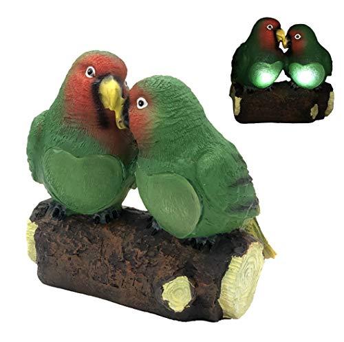 Bonetti LED Solar Deko-Figur Papageien in Love in Stein-Optik, aus hochwertigen Polyresin, 2 weiße LED, kabellos, automatische Einschaltung