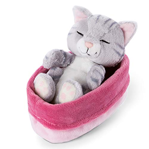 NICI 47141 Kuscheltier pink-lilanem Körbchen 12 cm – Sleeping Kitties Plüschtier Mädchen, Jungen & Babys – Stofftier Katze zum Kuscheln, Spielen & Schlafen – Gemütliches Schmusetier, Grau